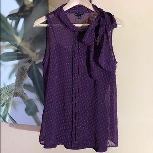 Banana Republic polka dot tie blouse purple 10P